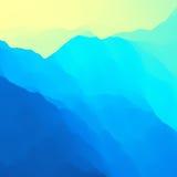 Paisaje de la montaña Terreno montañoso Diseño de la montaña Siluetas del vector de los fondos de las montañas Puesta del sol stock de ilustración