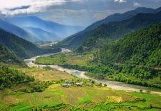 Paisaje de la naturaleza de Bhután del valle imagenes de archivo