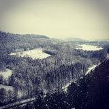 Paisaje de la naturaleza debajo de la nieve Foto de archivo libre de regalías