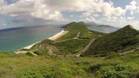Paisaje de la naturaleza del St San Cristobal Visión escénica en St San Cristobal y Nevis Destino del Caribe del barco de crucero almacen de video