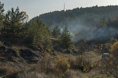 Paisaje de la naturaleza otoñal con el bosque de la mezcla, la niebla y el claro seco en montaña balcánica Fotos de archivo libres de regalías