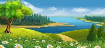 Paisaje de la naturaleza, valle de la corriente stock de ilustración