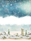 Paisaje de la Navidad con el árbol de navidad EPS 10 Imágenes de archivo libres de regalías