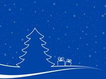 Paisaje de la Navidad con el regalo dos Foto de archivo