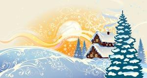 Paisaje de la Navidad del invierno. Imágenes de archivo libres de regalías
