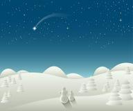 Paisaje de la Navidad del invierno con la estrella el caer Foto de archivo libre de regalías