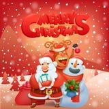 Paisaje de la Navidad del reno del muñeco de nieve de Papá Noel Imagenes de archivo