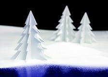 Paisaje de la Navidad de Kirigami Imagenes de archivo