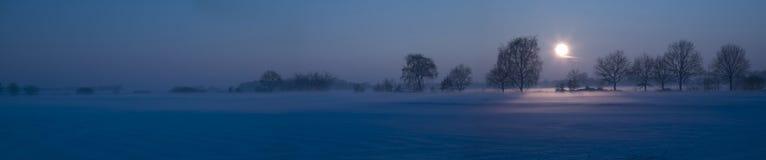 Paisaje de la nieve con la niebla Fotografía de archivo libre de regalías