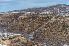 Paisaje de la nieve del invierno de la montaña del desierto del parque nacional del verde del Mesa fotos de archivo libres de regalías