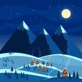 Paisaje de la nieve de la noche del invierno con la luna, montañas, colinas, árboles, casas acogedoras con las ventanas encendida stock de ilustración