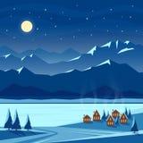 Paisaje de la nieve de la noche del invierno con la luna, montañas, colinas, abetos, casas acogedoras El dar la bienvenida de la  libre illustration