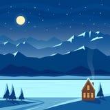 Paisaje de la nieve de la noche del invierno con la luna, montañas, colinas, estrellas, abetos, río, lago, casa acogedora, cabaña libre illustration