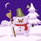 Paisaje de la nieve y un muñeco de nieve bajo la forma de cerdo ilustración del vector