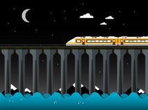 Paisaje de la noche con el tren y el puente sobre el mar imagenes de archivo