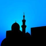 Paisaje de la noche con las mezquitas y los alminares hermosos del mes libre illustration
