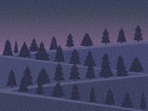 Paisaje de la noche con los árboles de navidad nevados en un estilo plano ilustración del vector