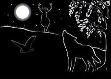 Paisaje de la noche con los animales Foto de archivo