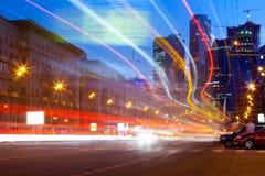 Paisaje de la noche de la ciudad de Moscú Imágenes de archivo libres de regalías
