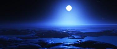 paisaje de la noche de la fantasía 3D con la luna Imagen de archivo libre de regalías