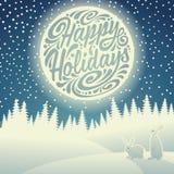 Paisaje de la noche de la Navidad ilustración del vector