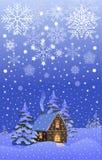 Paisaje de la noche de la Navidad Imagenes de archivo