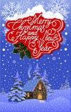 Paisaje de la noche de la Navidad stock de ilustración