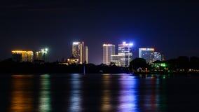 Paisaje de la noche de Rangún imagen de archivo