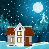 Paisaje de la noche del invierno ilustración del vector