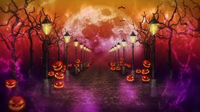Paisaje de la noche de Halloween con la luna Calabazas y farolas Camino místico en claro de luna bucle Tema de la celebraci?n stock de ilustración
