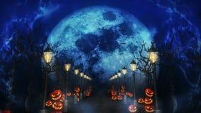 Paisaje de la noche de Halloween con la luna Calabazas y farolas Camino místico en claro de luna bucle Tema de la celebraci?n ilustración del vector