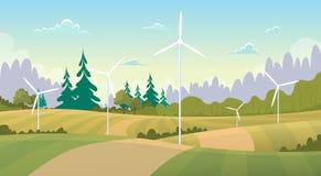 Paisaje de la opinión del verano con los recursos energéticos de alternativa de la turbina de viento ilustración del vector