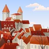 Paisaje de la pequeña ciudad Fotografía de archivo libre de regalías