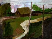 Paisaje de la pintura Fotografía de archivo libre de regalías