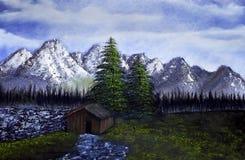 Paisaje de la pintura al óleo Fotografía de archivo