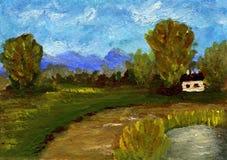 Paisaje de la pintura al óleo Imagen de archivo libre de regalías