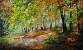 Paisaje de la pintura al óleo - bosque colorido del otoño Foto de archivo