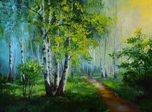 Paisaje de la pintura al óleo - bosque del abedul, dibujo abstracto Imagen de archivo libre de regalías