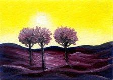 Paisaje de la pintura al óleo con los árboles Fotos de archivo