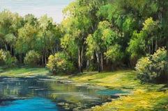 Paisaje de la pintura al óleo - lago en el bosque, día de verano Foto de archivo libre de regalías