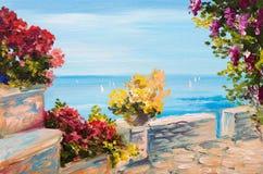 Paisaje de la pintura al óleo - terraza cerca del mar, flores Imagen de archivo libre de regalías