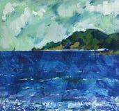 Paisaje de la pintura al óleo Fotografía de archivo libre de regalías