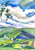 Paisaje de la pintura de la acuarela Imagen de archivo libre de regalías