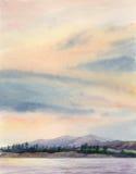 Paisaje de la pintura de la acuarela Imagen de archivo