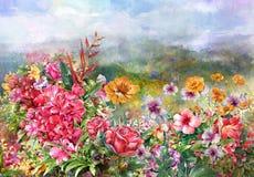 Paisaje de la pintura multicolora de las flores Foto de archivo libre de regalías