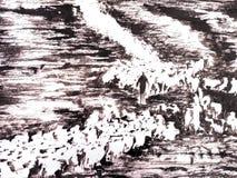 Paisaje de la pintura de la tinta stock de ilustración