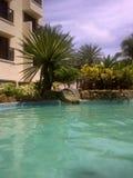Paisaje de la piscina en el hotel del mar del Caribe en Margarita Island foto de archivo