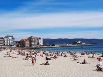 Paisaje de la playa de Silgar - Sanxexo - España Fotos de archivo libres de regalías