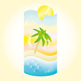 Paisaje de la playa del día de fiesta en una forma de un cóctel Imagenes de archivo