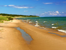 Paisaje de la playa del lago Michigan Foto de archivo libre de regalías
